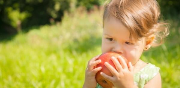 ребенок есть яблоко